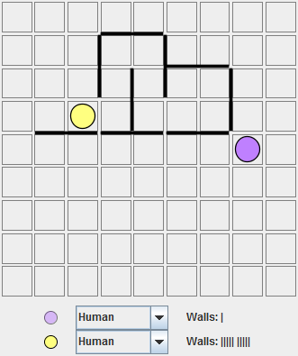 Purple, moving top, has wasted almost all his walls and not blocked off much of the board