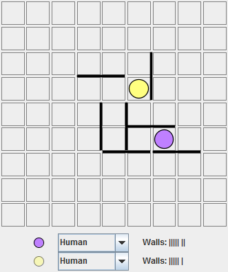 Purple, moving top, is pushed to one side of the board and about to be turned around
