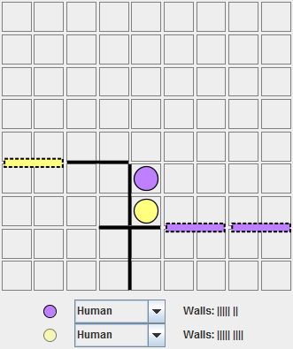 Yellow, moving bottom. Purple wanted to trap Yellow and turn him around, but Yellow can close the other side of the board faster, one wall to Purple's two.