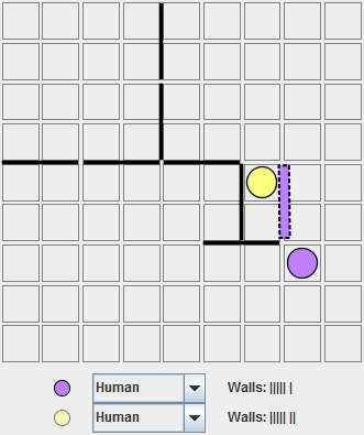 Yellow, moving bottom, turns towards the bottom too quickly. This close to so many walls it would have been better to move right or place walls to push his own pawn before moving.
