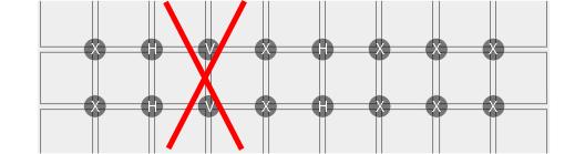 example stacked rows V no no